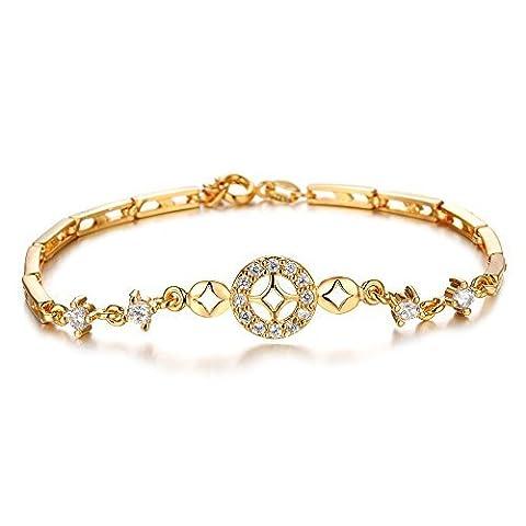 Fille Era Mode fin doré Bling Oxyde de Zirconium Princesse Charm Bracelets de tennis, 19cm