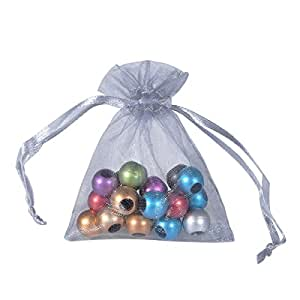 HOUSWEETY 100 Organza Wedding Favour Bags Jewellery Pouches 7cm x 9cm