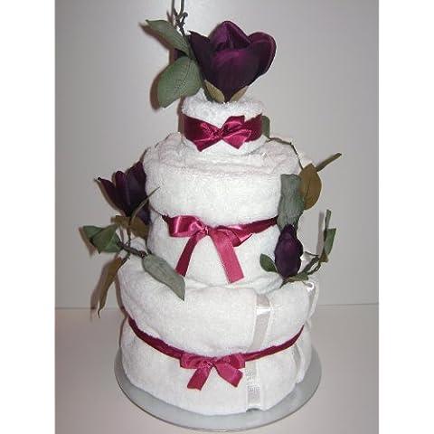 3 niveles de lujo de la boda/ocasión especial toalla de la torta del cesto de con malva y flores blancas **HERMOSO REGALO DE BODA** Regalo único Babysfirstnight.