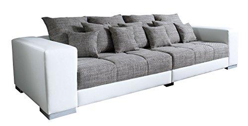 Big-Sofa XXL-Couch Wohnzimmercouch ADONIS | Grau-Weiß | Kunstleder | Webstoff | BxHxT: 285x91x116 cm