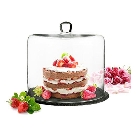 Sendez Cloche en Verre sur Plateau Ardoise 28 x 25 cm Cloche à gâteau Cloche à Fromage Plateau à gâteau Capot