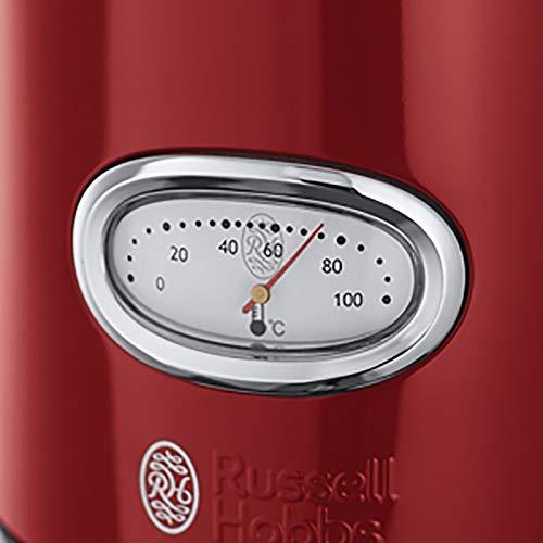 Russell Hobbs Retro Ribbon Red 21670-70 Wasserkocher 2400 W mit  stylischer Wassertemperaturanzeige Schnellkochfunktion, rot - 3