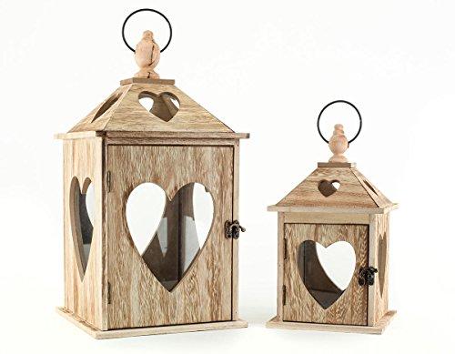 levandeo 2er Set Laternen aus Holz und Glas mit Herz Herzfenster - Windlichter Farbe braun - Tischlaternen Holzlaternen Gartenlaternen Landhaus Dekoration