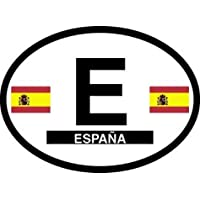 Spain Oval Glossly FLAG Decal, Waterproof UV Coated Laminated Reflective