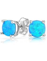 Bling Jewelry Plata Esterlina Ópalo azul redonda Ceta stud Arete 6mm