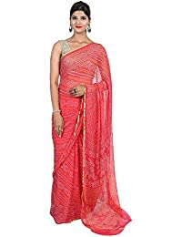 BILOCHI'S Women's Chiffon Bandhej Printed Saree With Same Color Blouse Piece(Length: 5.5 Meter, Width: 1 Meter, Color: Multi Color)