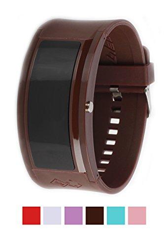 Pollmann Innovation Modern LED Braun Watch Groß Silikon Plastik Damen Mädchen Unisex Elegant Schick Digital (Braun)