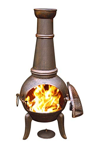 Gardeco GRANADA124 Extra Large Bronze Cast Iron Chiminea, Ideal for Outdoor Patio Heating. Includes Matching Rain Lid & Tigerbox Matches.
