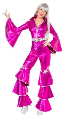 70er Jahre Kostüm für Damen pink Flower Power Hippie Dancing Queen Damenkostüm sexy groovy Gr. 34 (XS), 36/38 (S), 40/42 (M), Größe:M
