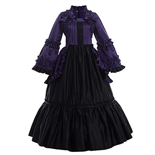 GRACEART Damen Langarm Renaissance Mittelalter Kleid Gothic Viktorianischen Königin Kleid Kostüm (M, lila)