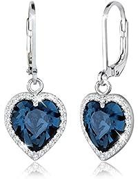 Elli Damen-Ohrhänger Herzen 925 Sterling Silber mit Swarovski Kristallen im Brillantschliff blau - 0301651215