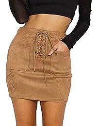 f4d3c37ce7b HARRI Femme Jupe Faux Suède Haut Taille Sexy Jupe Courte Jupe en Daim Souple