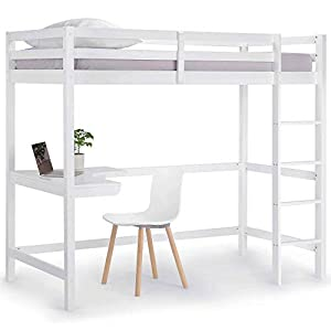 VonHaus Wooden Study Bunk Bed Frame – Stylish 3FT Single Solid Pine High Sleeper with Desk to Maximise Space – Ideal Student Furniture (Mattress not Included)