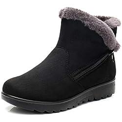 Botas de Nieve Mujer Invierno Fur Botines Planos Calientes Tobillo Cremallera Zapatos Casual Impermeable Zapatillas Negro Rojo Marrón 35-43 BK40