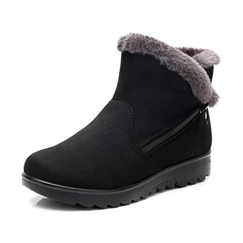Botas de Nieve Mujer Invierno Fur Botines Planos Calientes Tobillo Cremallera Zapatos Casual Impermeable Zapatillas Negro Rojo Marrón 35-41 BK41