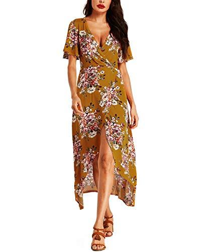 Auxo Femme Robe Longue Été Casual Manches Courtes Col V Robe Chic Sexy Bohème Imprimé Floral Décontractée Robe Fluide Grande Taille Maxi de Soirée Plage M.Jaune