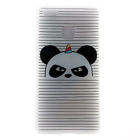 Coque Huawei P9 lite, Premium Etui Slim Fit Protective Coque Huawei P9 lite, Motifs Peints Ultra Mince Transparente Anti-Scratch Doux Souple Durable Résistant Aux Rayures TPU Protecteur Coque Housse Pour Huawei P9 lite - Panda