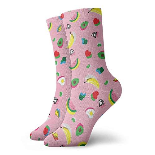 yting Obst und Diamant Erwachsene atmungsaktive kurze Socken 30 cm Baumwolle klassische Socken für Herren Damen Yoga Wandern Laufen -