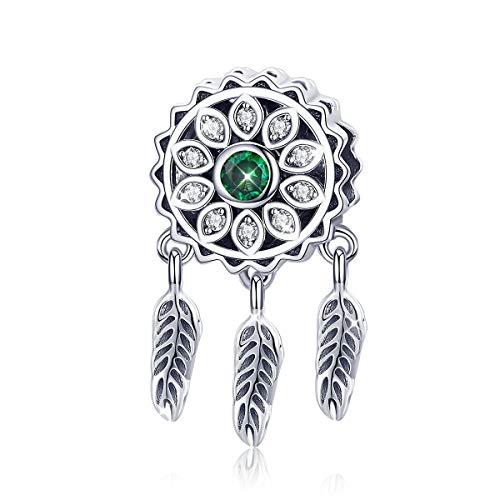 Abalorio de atrapasueños de plata de ley 925 con cristal verde compatible con pulseras Pandora