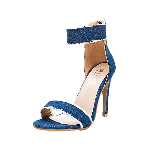 Longra Donna Sandali in denim con tacco alto Azzurro