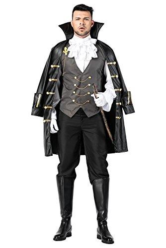 Tollstore Buccaneer Piraten-Kostüm Herren Kostüm Seeräube Pirat Kapitän Komplett-Kostüm Piraten-Mantel Herren inkl. Hose, Piraten-Hut Abenteuer Herrenkostüm