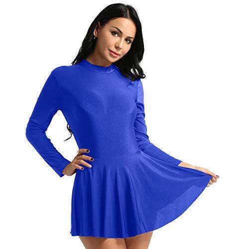 Agoky Damen Kleid Langarm Eiskunstlauf Bekleidung Ballettkleid Tanz Gymnastik Leotard Trikot mit Skaterrock Blau S (Kostüm Für Eiskunstlauf)