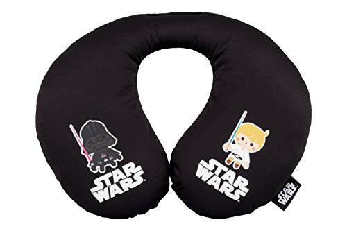 ABC PARTS Cojin para Coche para Niños - en Forma de U - Star Wars Saga - Darth Vader - Luke Skywalker – Negro