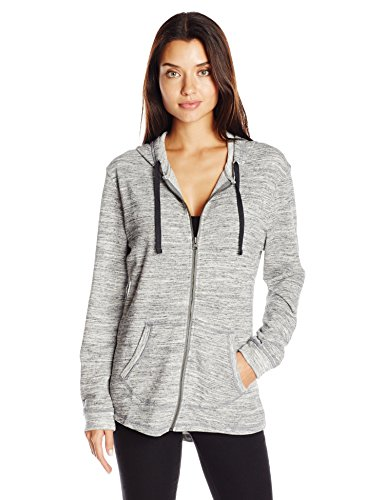 Hanes Women's French Terry Full-Zip Hoodie, Black Space Dye, XX-Large (Dye-polyester Black)
