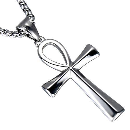 J.Memi.Men Halskette Edelstahl Strass Ägyptische Ankh Kreuz Amulett Religion Anhänger Punk Biker Schmuck Unisex Geschenke,Silver