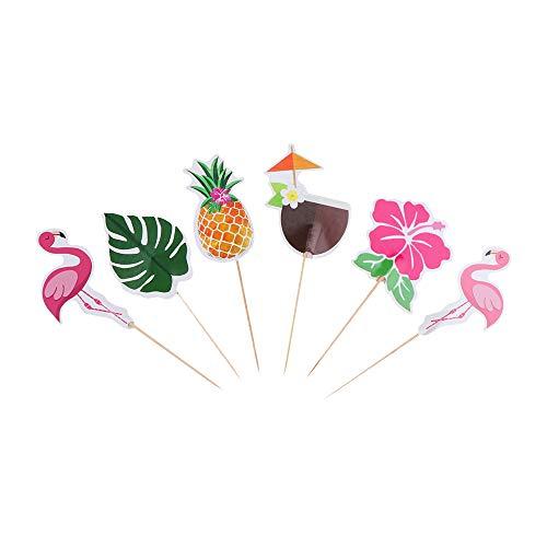 Sarett 96pcs Pink Flamingo oder Gelb Ananas Cupcake Topper Picks Tropical Hawiian Luau Mottoparty Hochzeit Kuchen Dekoration