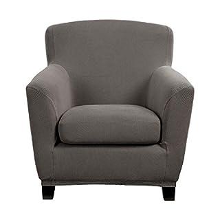 Bellboni® Couchhusse für Einsitzer Couchsessel oder Loungesessel, Sofabezug, bi-elastische Stretchhusse, Spannbezug für viele gängige Einer Sessel, grau