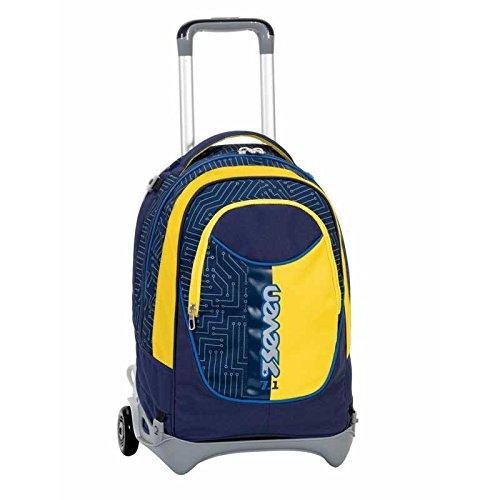3-in-1-ZAINO-TROLLEY-SEVEN-NEW-JACK-CIRCUIT-Giallo-Blue-SGANCIABILE-e-LAVABILE-Scuola-e-viaggio