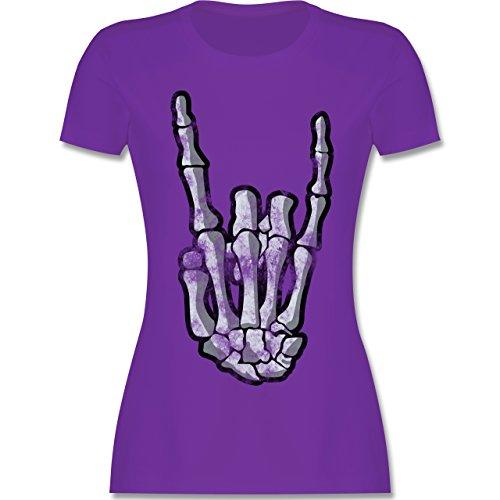 Metal - Metal Horns Skelett Hand - XL - Lila - L191 - Damen T-Shirt Rundhals