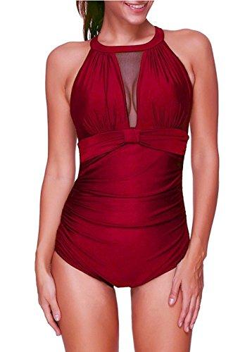 Sixyotie Badeanzug Schwimmanzug Damen Einteiler Schlankheits Raffung High Neck Bademode Strandmode (Weinrot, 3XL(EU 44-46))