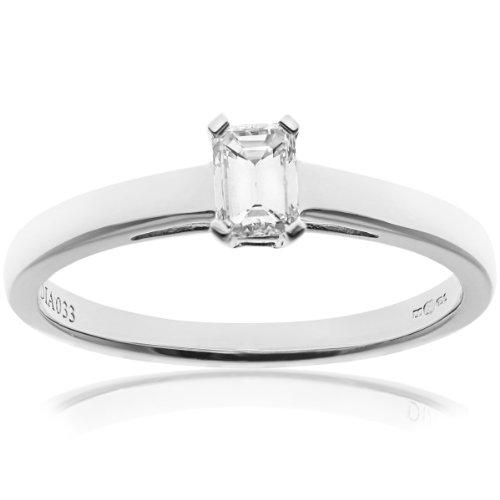 Certified Diamonds PR9146(P) - Anillo de mujer de oro blanco (18k) con 1 diamante (talla: 16.5)