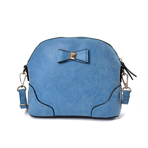 ZPFME Womens Umhängetaschen Solid Mode Reißverschluss Umhängetasche Geschenk Party Retro Bankett Mode Blue
