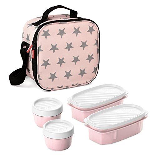 TATAY Urban Food Stars - Bolsa térmica porta alimentos con fiambreras incluidas, color rosa pálido