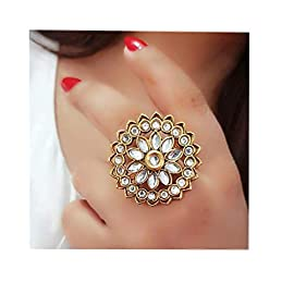 darshini designs Yellow Alloy Kundan Ring for Girls and Women