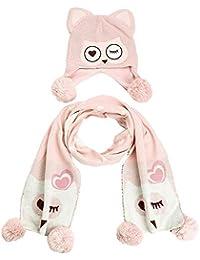zyyaxky Cappello per Bambini Femminile Autunno E Inverno Versione Coreana  della Ragazza Carino Set Caldo Sciarpa di Lana Cappello A… d8e6e93355a8