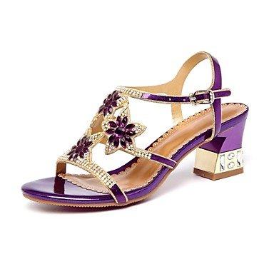 Sanmulyh Chaussures Femme Pu Printemps Été Gladiateur Sandales Chunky Talon Peep Toe Cristal Strass Pour Party & Soirée Bleu Violet Or Violet