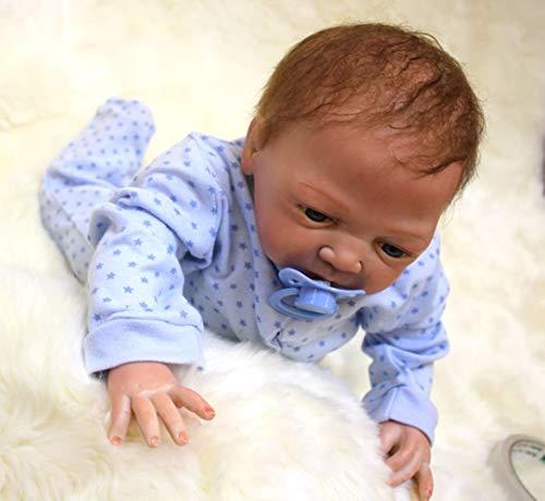 UBTY Hecha a Mano 18 Pulgadas 45cm Ojos Abiertos Chico muñeca Reborn Muñecas Vinilo de Silicona Suave Magnética Recién Baby Doll Juguete