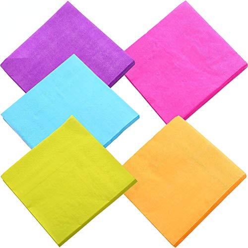 duckmall Getränk Papier Colorful Servietten Cocktail Serviette 2-lagig für Küche, Partys, Hochzeiten, Abendessen oder Events   gemischt Farbe (100Stück)