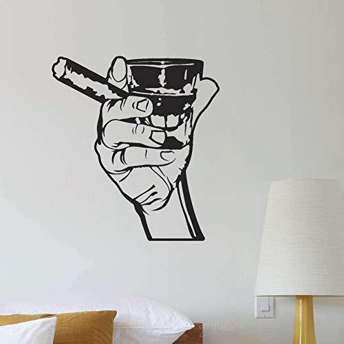 Klassische Wandtattoo Trinken Alkohol Männer Bar Whisky Rum Zigarre Entspannung VinylWandaufkleberfür Küche Wohnzimmer Dekor56x62 cm