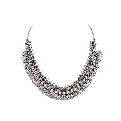 Indian Handicrafts Export Sansar India Oxidized Silver Plated Coins Choker Necklace for Women