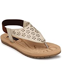 Rimezs Beige Flat Casual Daily Wear Sandal For Women And Girls