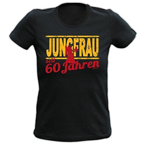 Girlie Shirt ::: Jungfrau seit 60 Jahren ::: Schwarz Schwarz