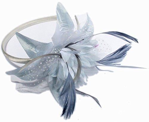 Fleur en mousseline et plumes Gris argent sur un fin serre-tête.