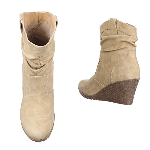 Keilstiefeletten Damen Schuhe Plateau Keilabsatz/ Wedge Warm Gefütterte Ital-Design Stiefeletten Beige
