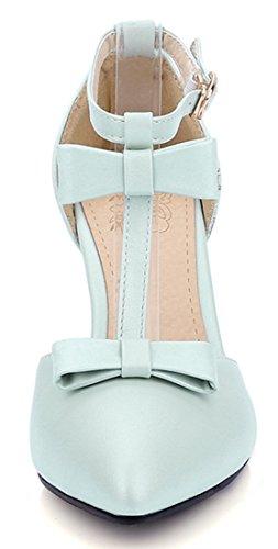 YE Damen Riemchen High Heels Stiletto Spitz T-Spangen Schleife 8cm Absatz Pumps mit Schnalle Sommer Sandalen Schuhe Blau