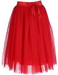 e414b18340 Feoya - Falda Tul Mujer Falda Midi Plisada con Cintura Elástica para Uso  Diario Oficina Fiesta